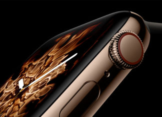 Visuel de l'Apple Watch Series 4 sur fond noir