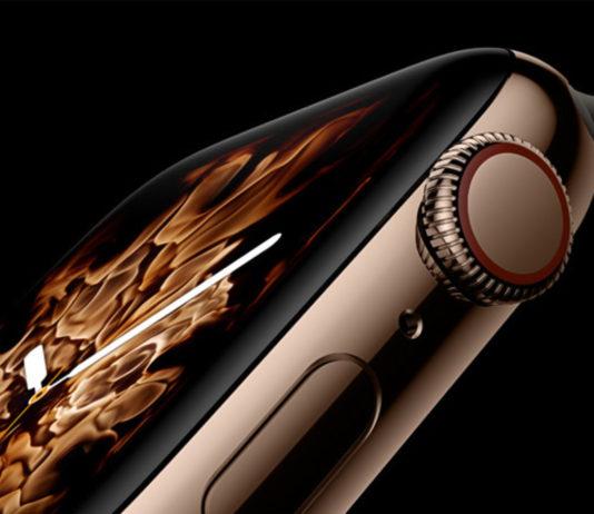Visuel de l'Apple Watch Series 4 sur fond noir